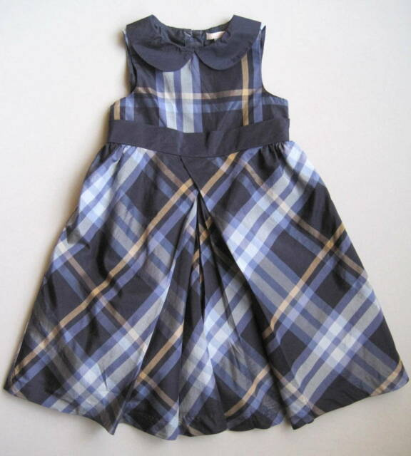 Janie & Jack PRIMA BALLERINA Girls 3T Blue Plaid Silk-Blend Dress Holiday Party