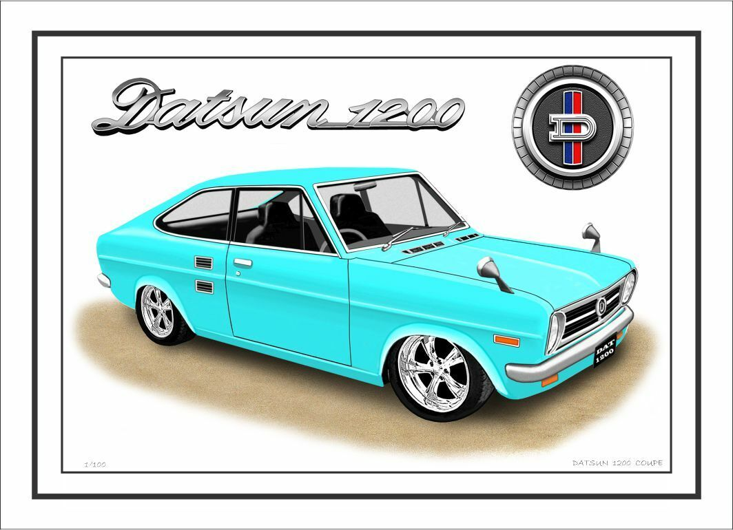 DATSUN  1200   UTE  LIMITED EDITION CAR DRAWING A4  PRINT 7  CAR COLOURS