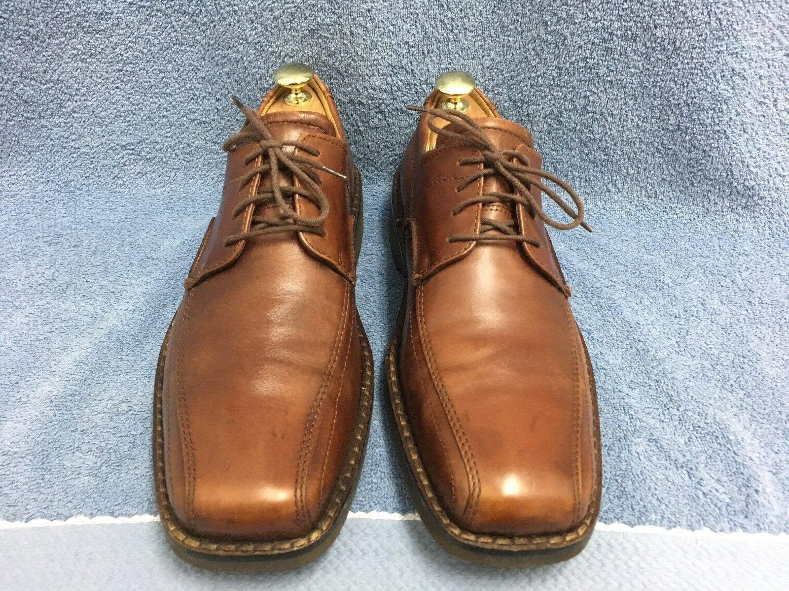 ECCO Bicycle Square Toe 34464 Brown Leather Dress Oxfords 44 EU Men's 10-10.5 US