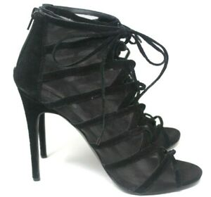 Steve-Madden-Dax-Black-Heel-Booties-Zip-Lace-Up-Womens-Sz-11-Suede-Sexy-Fab-25-6