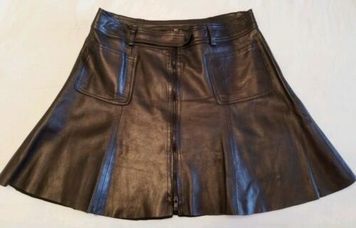 BREMAN'S Black GENUINE REAL Leather FLARE Skirt Si