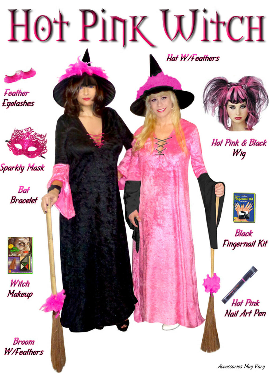 Sexy Rosa with schwarz Sleeves PLUS Größe Witch Halloween Costume Hot Rosa  1x -9x