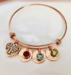 Details About Custom Name Birthstone Rose Gold Stainless Steel Tree Charm Bangle Mom Bracelet