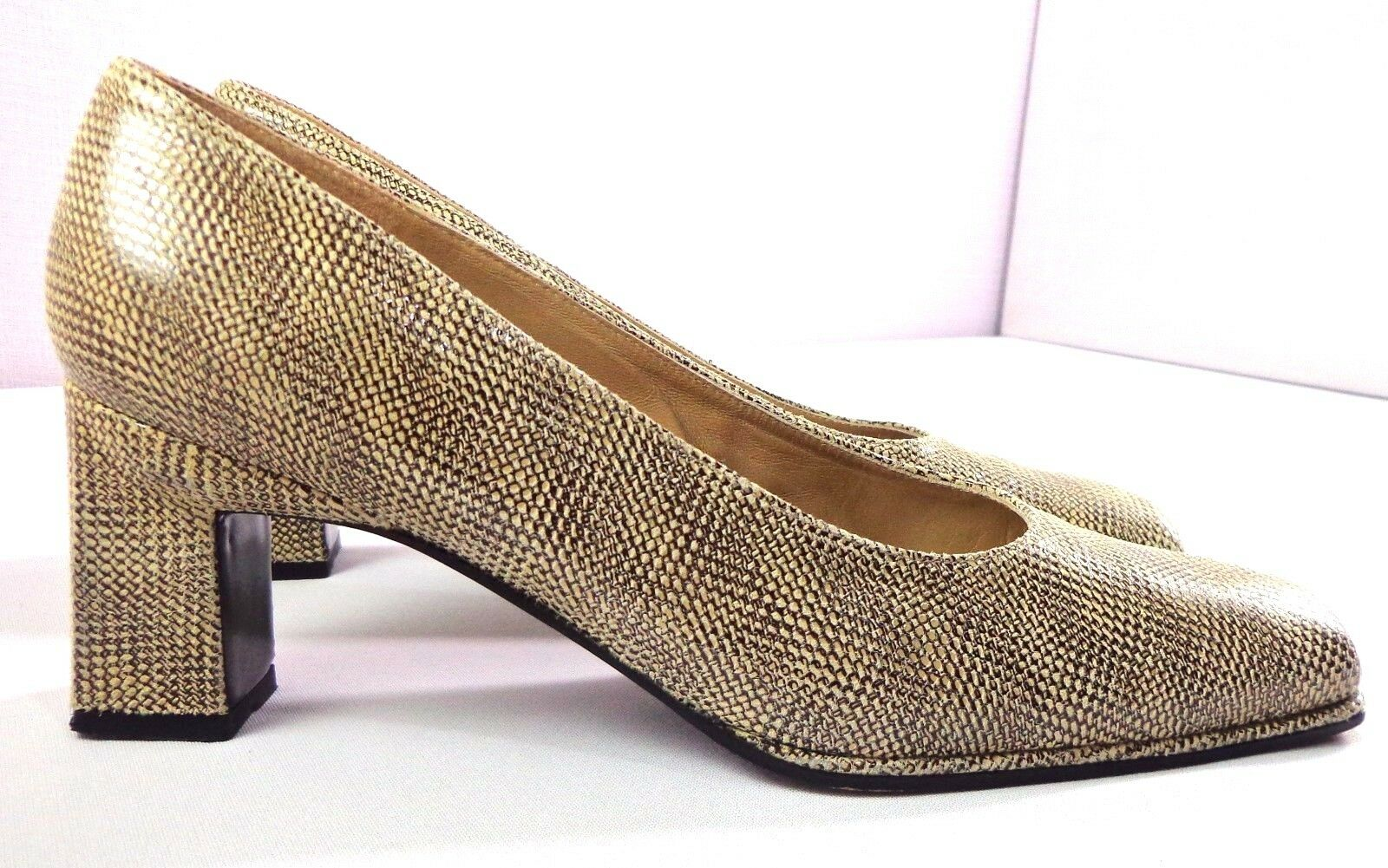 Stuart Weitzman Pumps Womens Square Toe Tan Brown Print Slip On shoes Size 9 B