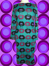 282✪ Vintage Strickkleid Kleid im 60er 70er Jahre Apfel Retro Muster türkis bedr