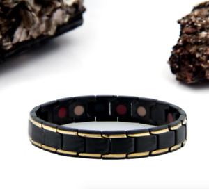 MEN-Authentic-Pur-life-Negative-Ion-Bracelet-ELEGANT-BLACK-GOLD-STEEL-BALANCE