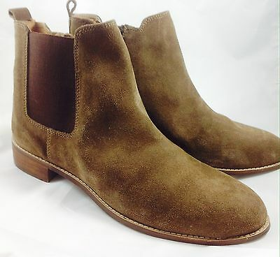 Plus Size Womens EVANS Taupe Suede Chelsea Ankle Boots Size UK10EEE PLUS SIZE