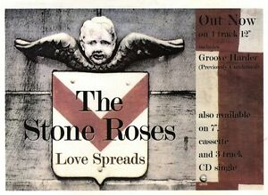 31294PGN26 SINGLE ADVERT 7X11034 THE STONE ROSES  LOVE SPREADS - Peterborough, United Kingdom - 31294PGN26 SINGLE ADVERT 7X11034 THE STONE ROSES  LOVE SPREADS - Peterborough, United Kingdom
