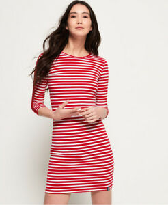 New-Womens-Superdry-Dalia-Bodycon-Dress-Flare-Red