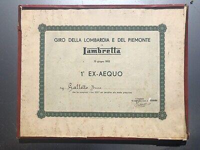 Originale Epoca Diploma Trofeo Lambretta Club Giro Piemonte Lombardia 1952