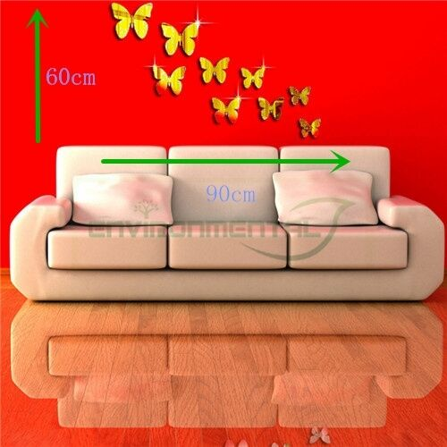 Butterfly Gold Acrylic Plastic Mirror Wall ROOM Decal Decor Vinyl Art Stickers