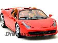 HOTWHEELS ELITE BCJ89 1:18 FERRARI 458 SPIDER DIECAST CAR BEIGE INTERIOR RED