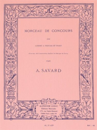 Augustin Savard Morceau De Concours Cornet Piano Classical Trumpet MUSIC BOOK