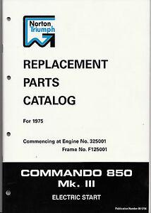 Norton Commando 850 Mk 3, Mk III,  OEM, Factory Parts Manual, NOS, Brown Wrap