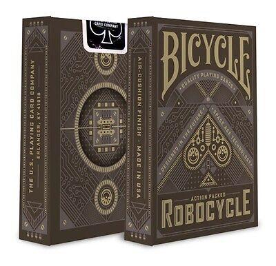 1 Deck Bicycle BLACK Robocycle Playing Cards Matallic Gray ink Robot