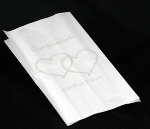 150 Silver Heart Wedding White Paper Lolly Favor Gift Cake Bags Postage only $3