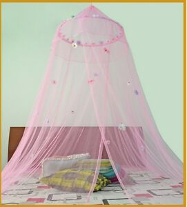 Image is loading Round-Hoop-with-Daisies-Bed-Canopy-Mosquito-Net-  sc 1 st  eBay & Round Hoop* with Daisies Bed Canopy Mosquito Net for Crib Twin ...