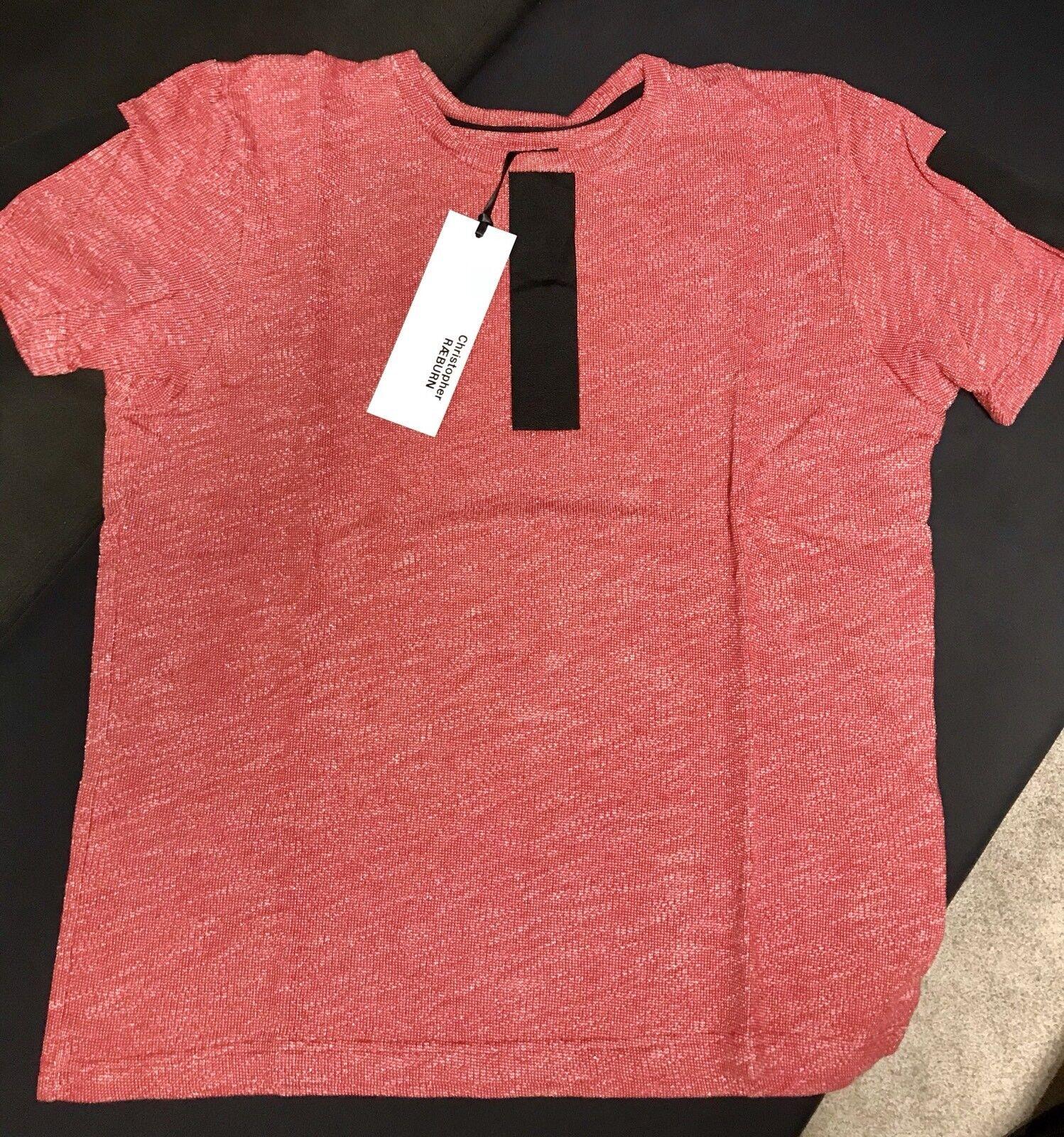 Christopher Raeburn Jersey  Herren Grosgrain OverGrößed T-shirt (ROT & Weiß,L Größe)