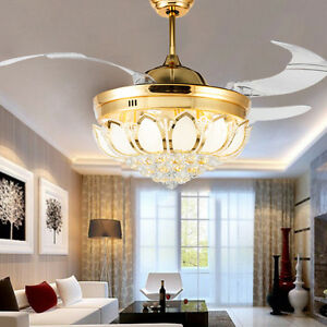 Image Is Loading Fan Lamp Chandelier Led Crystal Ceiling Light Lighting