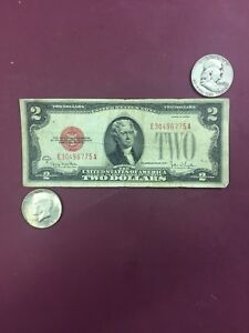 Old Money $1.00 Blue Seal And A Silver Half Dollar $2.00 /& $5.00 Red Seal