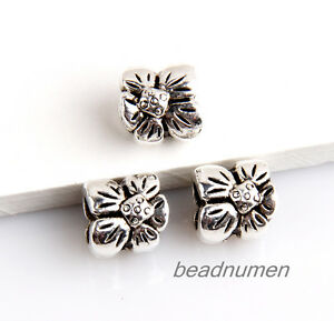 25pcs-Zinc-alloy-nice-Flower-charms-big-hole-beads-5mm