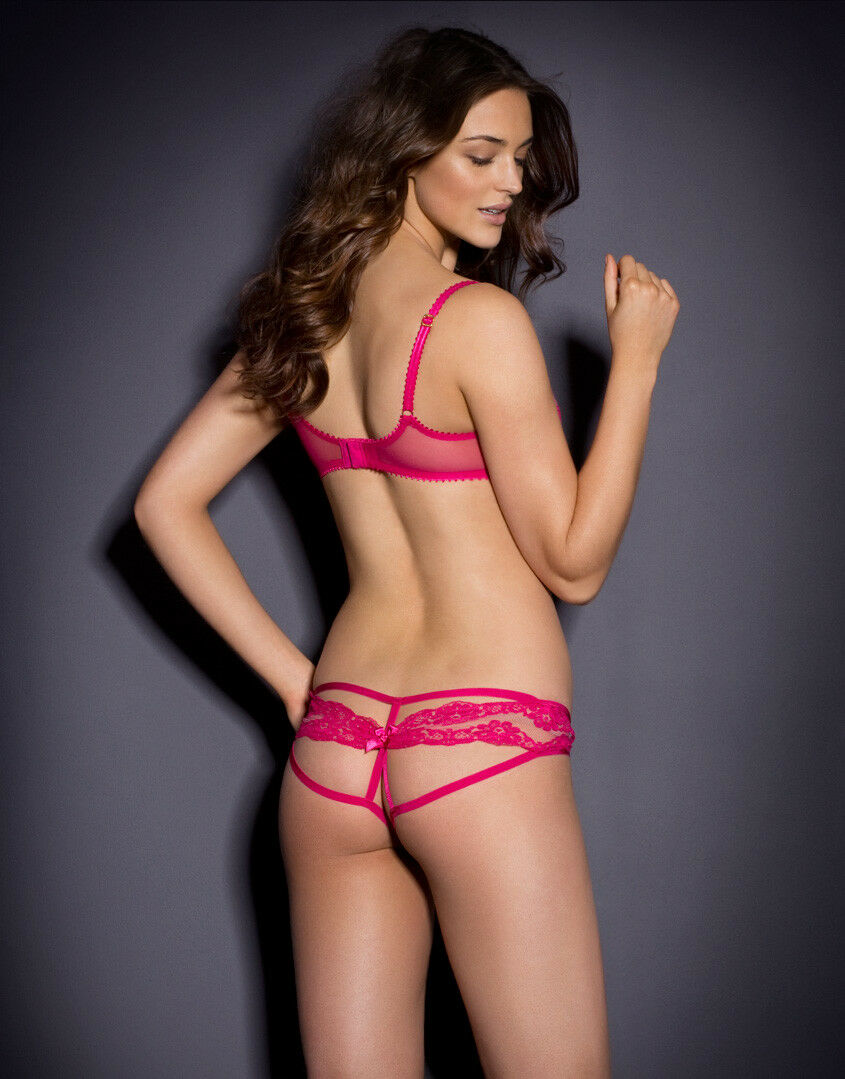 AGENT PROVOCATEUR PINK LACY BRA 32DD &  3 MEDIUM OUgreen OPEN BRIEF BNWT SOLD OUT