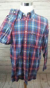 VTG-Tommy-Hilfiger-Plaid-L-S-Button-Shirt-Men-039-s-Size-Large
