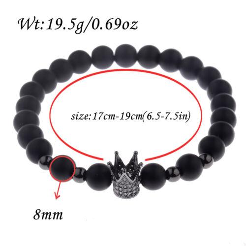 Cubic Zircon 24kt Plaqué or Couronne Perles Macrame Homme Bracelets Charme Bijoux