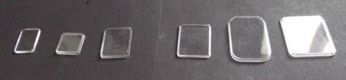 Ep 1,4 à 2,8 mm NEUF Verre montre Rectangle plat coin arrondi de 13 à 36 mm