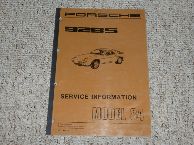 1984 Porsche 928s 928 S Shop Service Repair Workshop