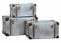 Dusx Industrial Aluminium Steampunk Style Set Of 3 Trunks 82cm X 43cm X 46cm