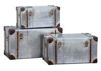 Dusx Industrial Aluminium Steampunk Style Set Of 3 Trunks 82cm X 43cm X 46cm