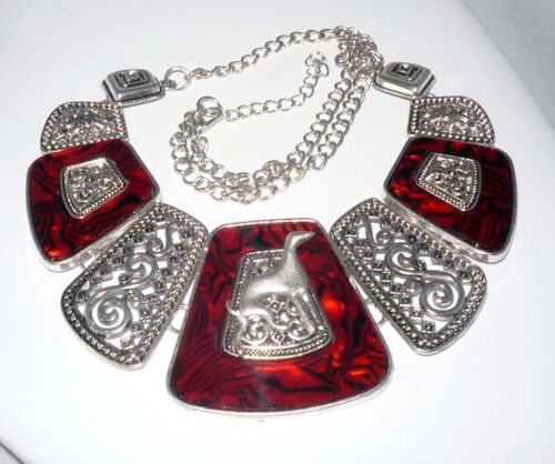 Stunning Pewter and Red Collar Necklace with Greyhound or Whippet Dog Silhouette