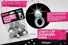 Bachelorette Party Light Up Diamond Rings 5pk Lit Engagement Novelty Bridal Gift