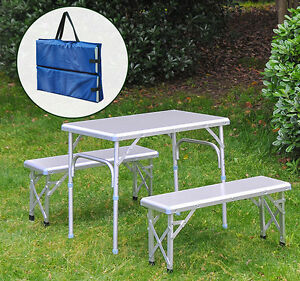 ... Aluminum Folding Picnic Table Bench Seat Portable Outdoor