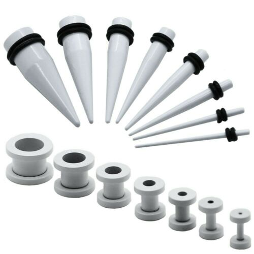 Set or Single Flesh Tunnel Plug and Ear Taper Expander White Piercing Earring