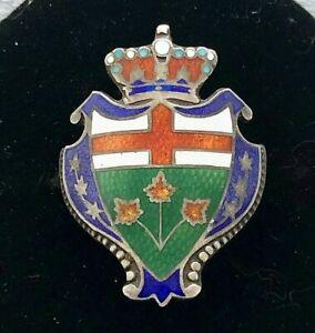 Vintage Sterling Enamel Crown With Red Cross /& Leaves Brooch