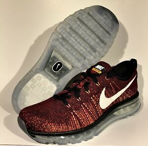 Details about Nike Flyknit Air Max Men's Running Sneakers Red Citrus 620469 011 10.5 11 9 7.5