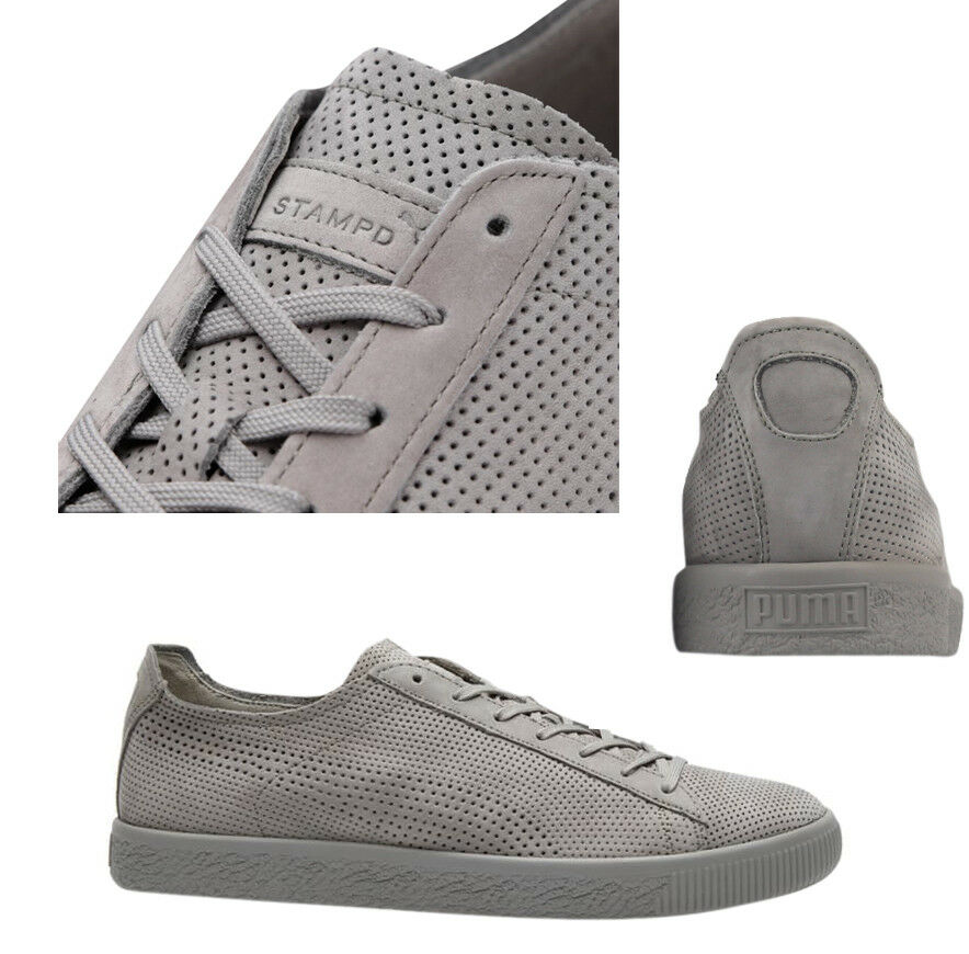 Puma x STAMPD Clyde Lace Up Mens grau Leather Trainers 362736 03 WHA