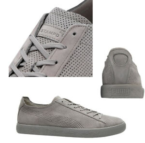 189ef511327 Puma x STAMPD Clyde Lace Up Mens Grey Leather Trainers 362736 03 WHA ...