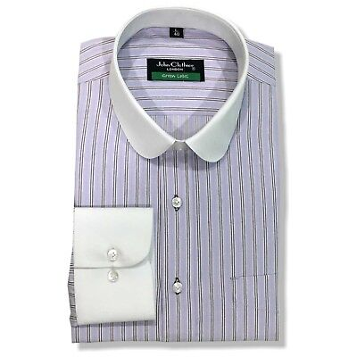 Mens Penny collar Peaky Blinder Lilac Purple stripe shirt Banker Round for Gents