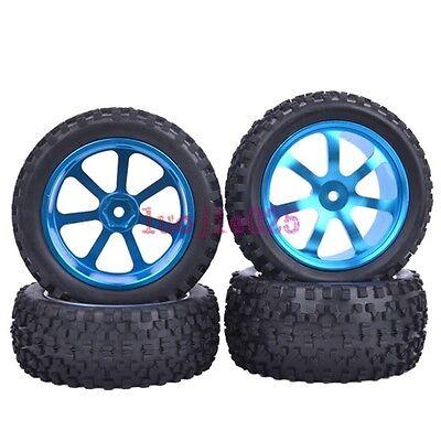 RC 1/10 Off-Road Car Buggy Metal Front &Rear Wheel Rim & Tyre Tires Blue M07B8