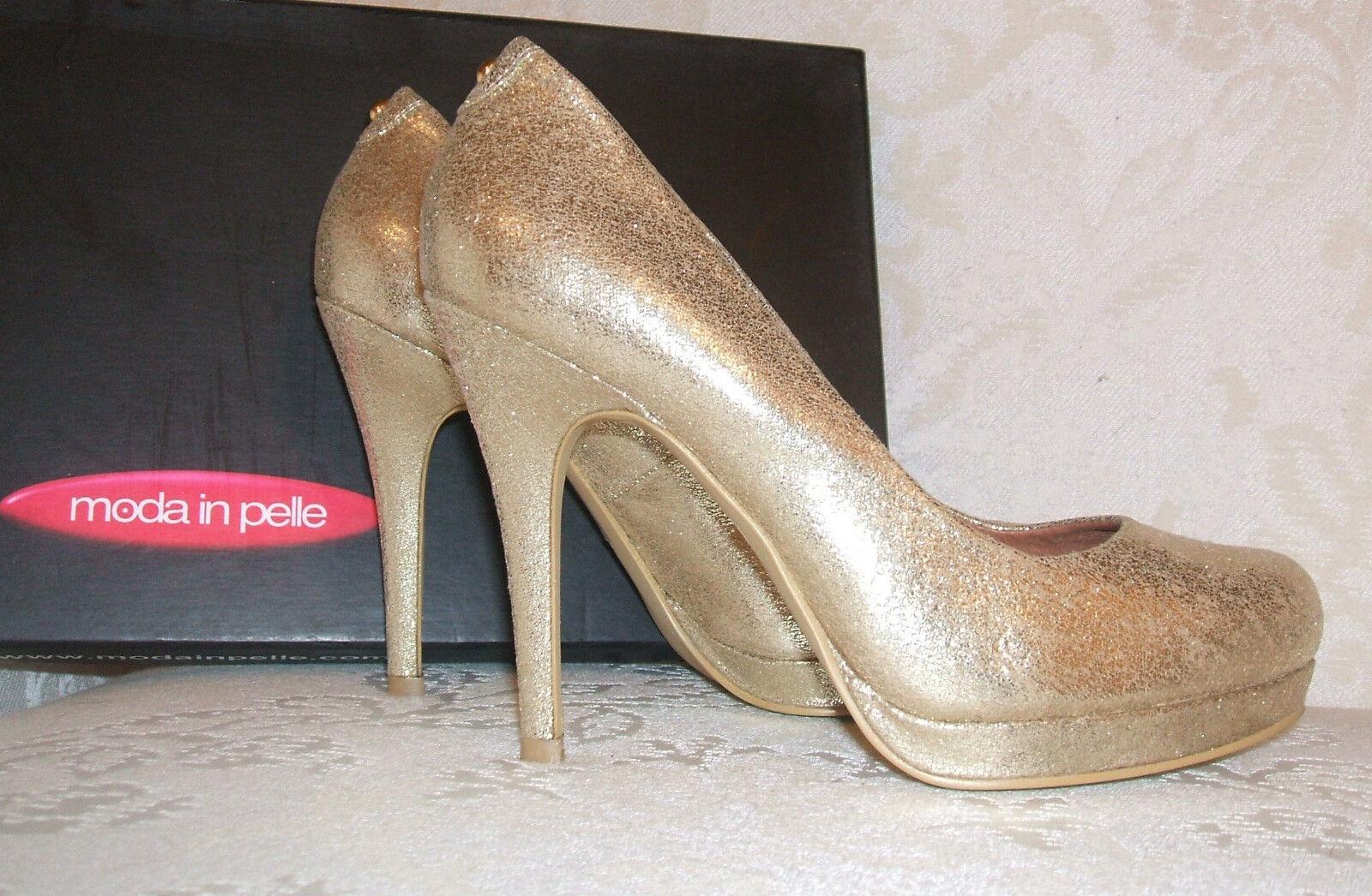 shopping online di moda NUOVO con con con scatola RRP .95 MODA IN PELLE TAGLIA 3 36 Calleen oro CUOIO FODERATO Décolleté  incredibili sconti