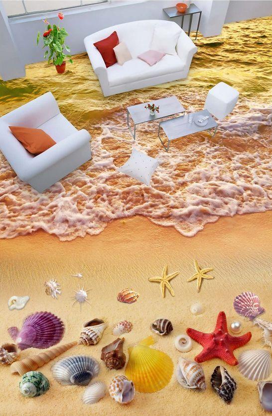 3D beach shell water 591 Floor WallPaper Murals Wall Print Decal 5D AJ WALLPAPER