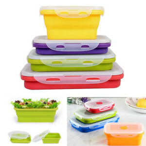4-piece Collapsible Silicone Food Storage Lunch Box