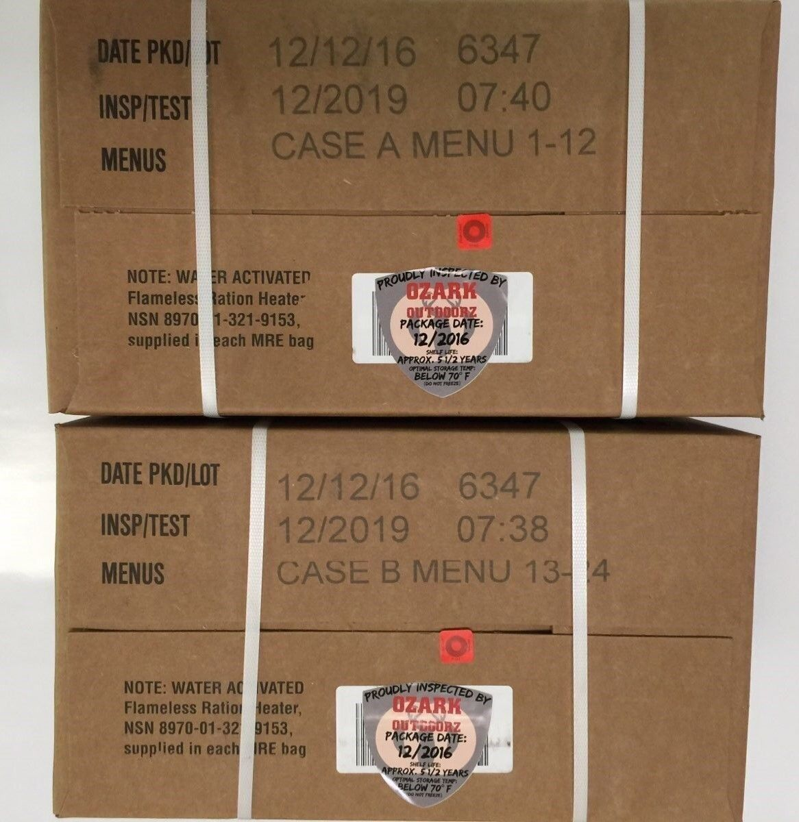 Military MRE  12 2019 Inspection A and B Case  cheapest