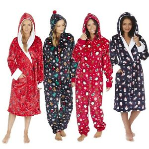 1Onesie-Xmas-Santa-Ladies-Soft-Long-Collar-Hooded-Fleece-Bath-Robe-Dressing-Gown