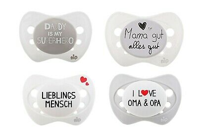 Baby Cooperative 4 Stk Nip Schnuller Spruch-schnuller Mama Papa Oma Gr 1 Silikon Neu 766465 Fashionable And Attractive Packages Pacifiers & Soothers