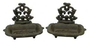 Cast-Iron-Victorian-Soap-Dish-Set-Of-2-Antique-Reproduction-Brown