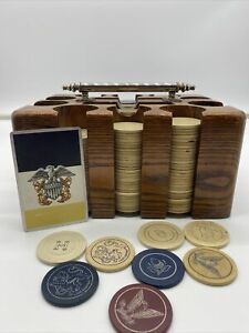 Vintage-US-Navy-Poker-Clay-Chip-Set-In-Wooden-Case-Silver-Handle-Leather